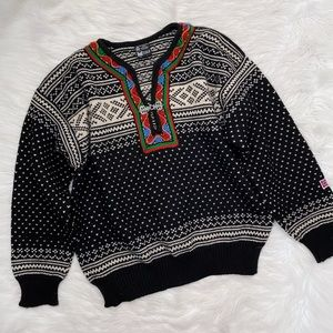 Dale Of Norway Black Cream Printed Wool Sweater